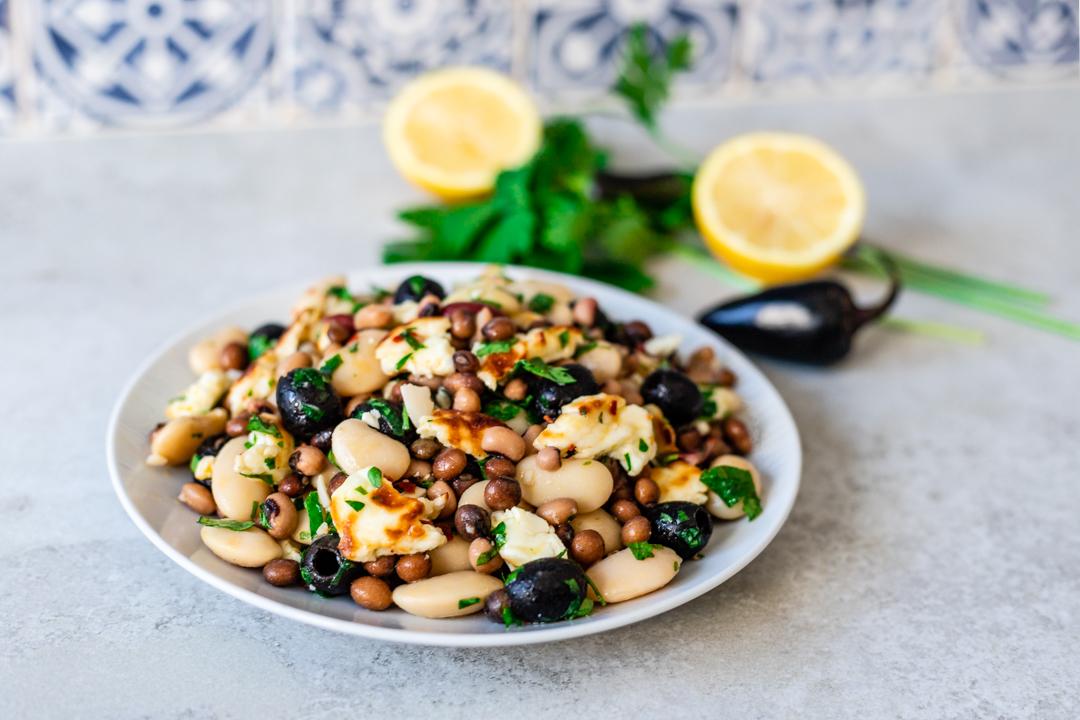 bean, haloumi & olive salad